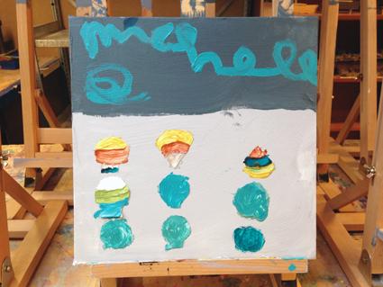 Michelle kunst in de klas Agatha Snellen