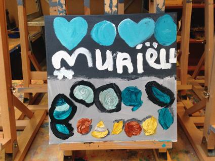 Muriella kunst in de klas Agatha Snellen